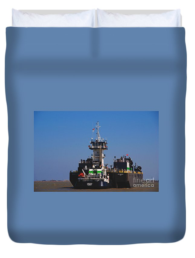 Oil Tanker Duvet Cover featuring the photograph Christiana Oil Tanker Sitting In Galveston Tx by Susanne Van Hulst