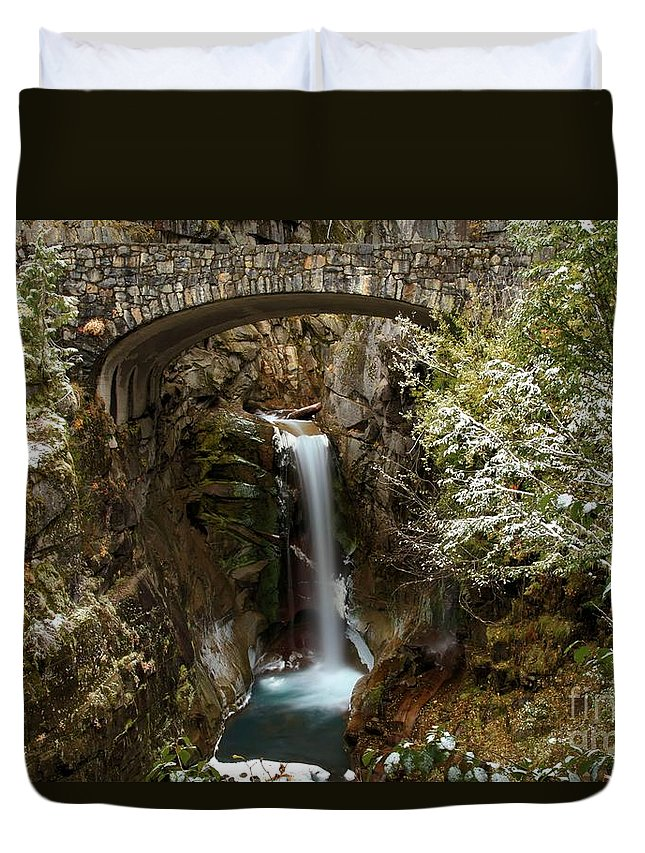 Christine Falls Duvet Cover featuring the photograph Christine Under The Bridge by Adam Jewell