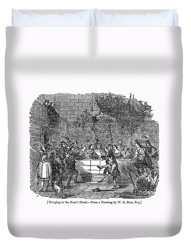 1838 Duvet Cover featuring the photograph Christmas Feast, 1838 by Granger