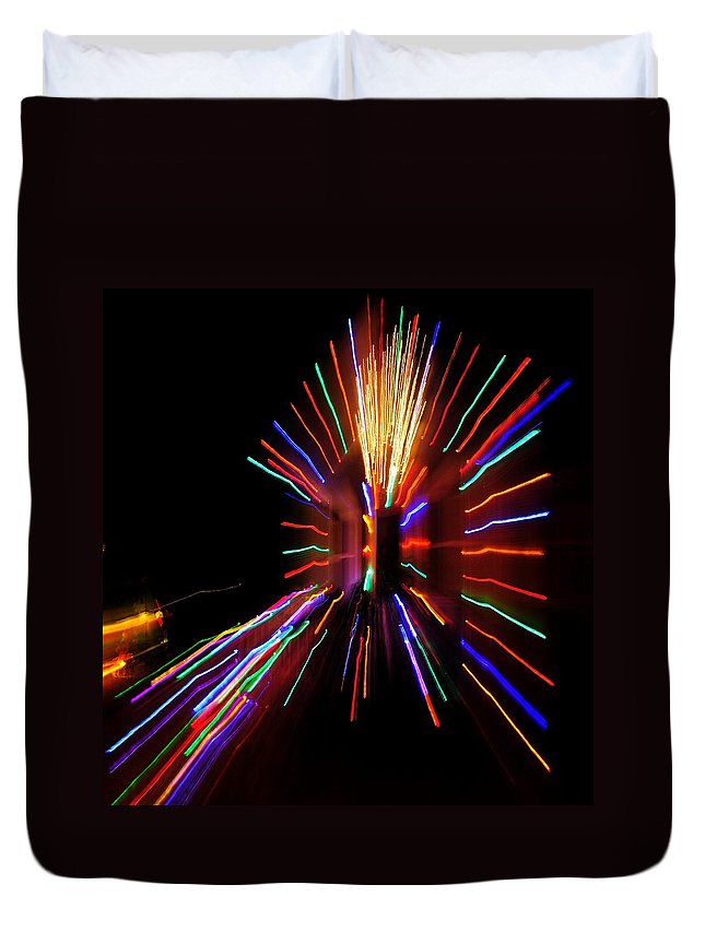 Duvet Cover featuring the photograph Christmas House Lights by Mark Valentine