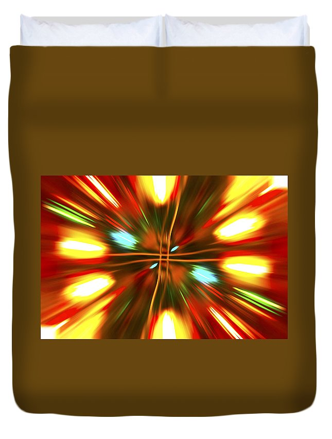 Christmas Lights Duvet Cover featuring the photograph Christmas Light Abstract by Steve Purnell