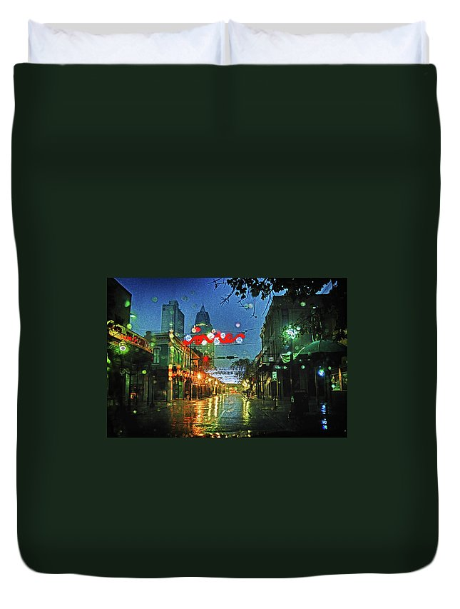 Alabama Photographer Duvet Cover featuring the digital art Lights At 3 Georges In Mobile Al by Michael Thomas