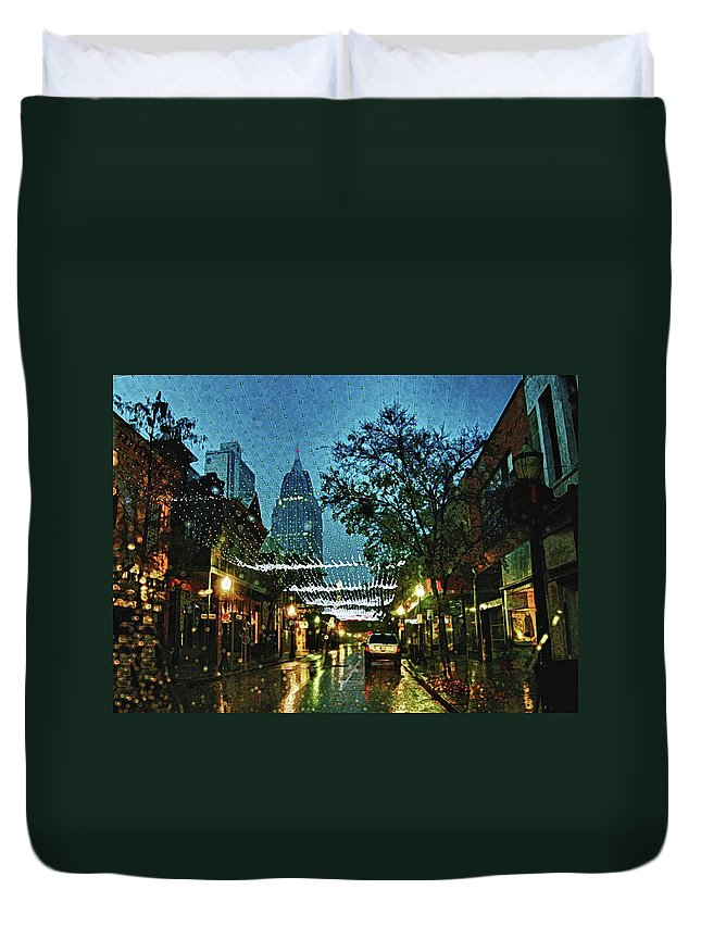 Mobile Duvet Cover featuring the digital art Christmas Lights Down Dauphin Street by Michael Thomas
