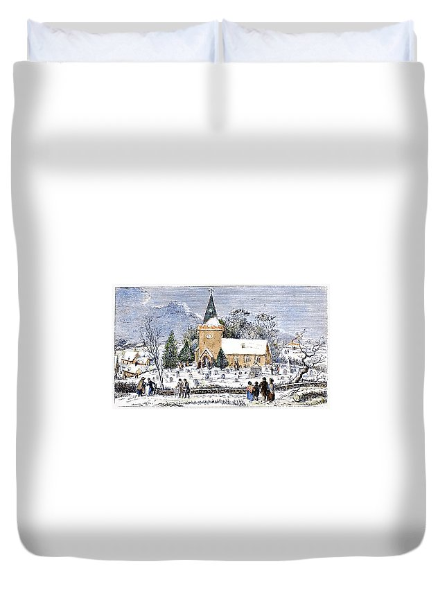 1837 Duvet Cover featuring the photograph Christmas Morning, 1837 by Granger