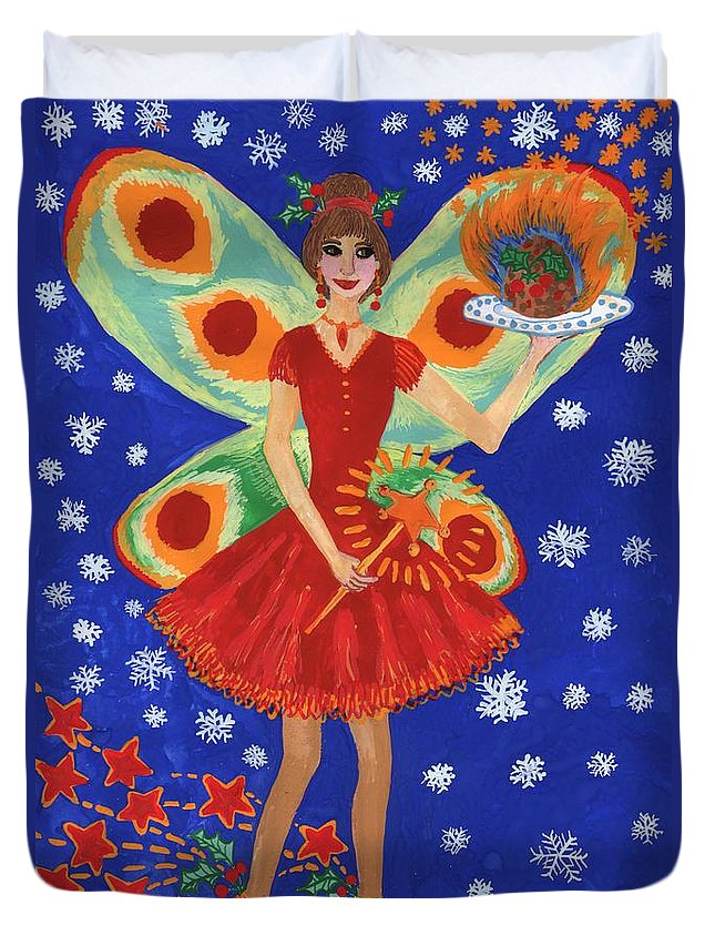 Fairy Duvet Cover featuring the painting Christmas Pudding Fairy by Sushila Burgess