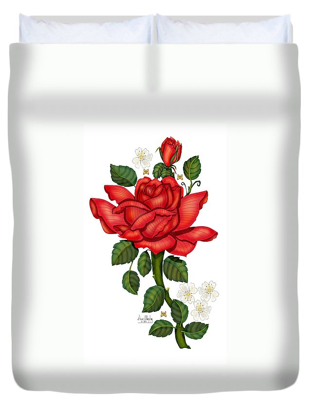 Hand-drawn Digital Art; Hand-drawn Digital Rose; Digital Rose; Anne Norskog Rose; Red Rose; Red Rose On White Background Duvet Cover featuring the painting Christmas Rose 2011 by Anne Norskog