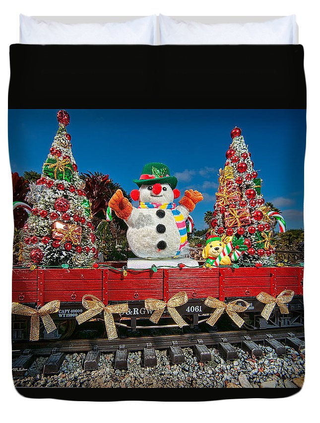 Snowman Duvet Cover featuring the photograph Christmas Snowman On Rails by Christopher Holmes
