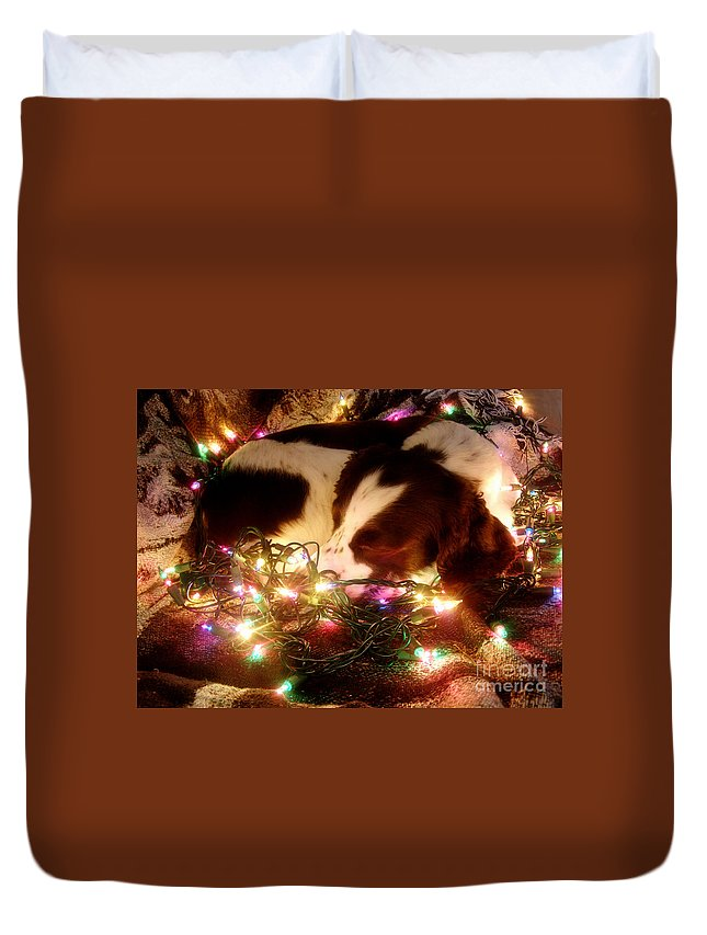 Christmas Duvet Cover featuring the photograph Christmas Spaniel by Angie Rea