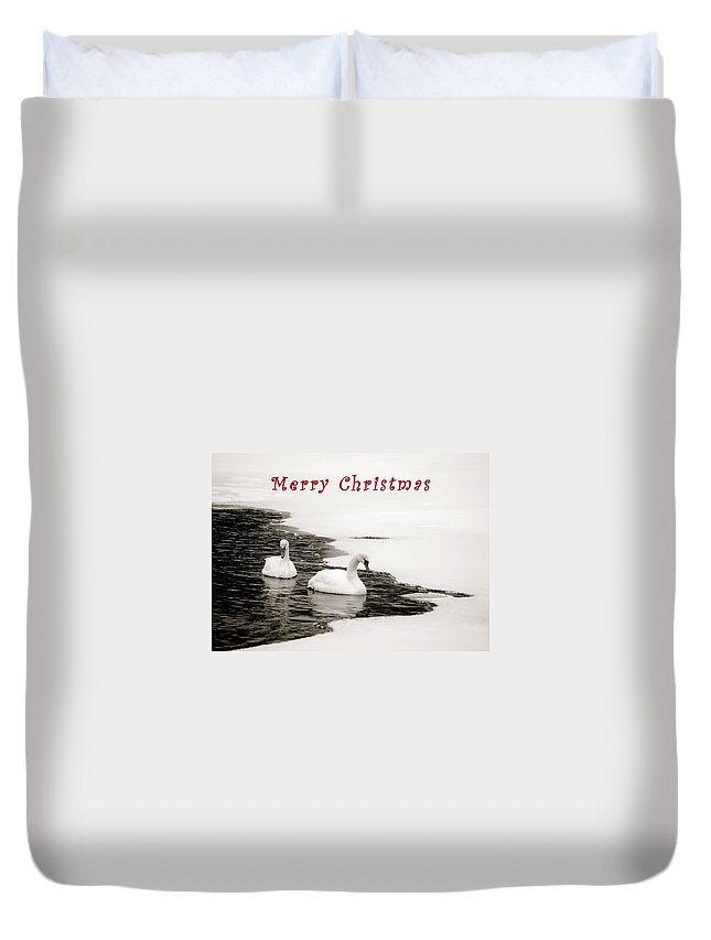Christmas Duvet Cover featuring the photograph Christmas Swans 2367 by Michael Peychich