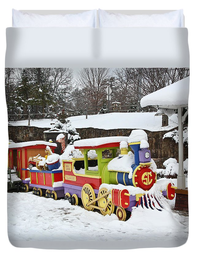 Christmas Duvet Cover featuring the photograph Christmas Train by Tom and Pat Cory