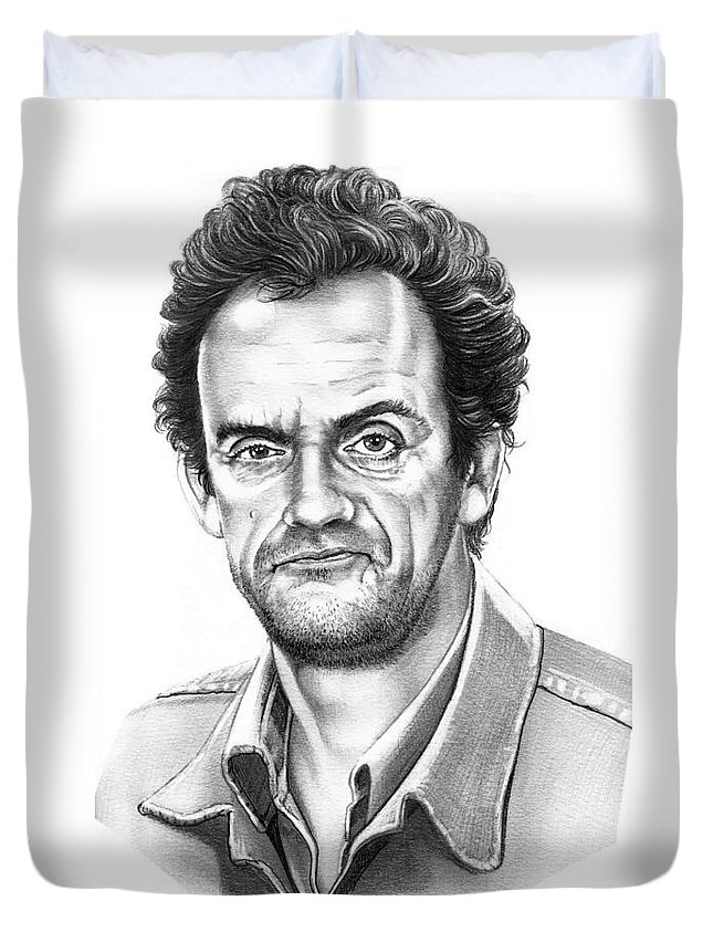 Pencil Duvet Cover featuring the drawing Christopher Lloyd Taxi by Murphy Elliott