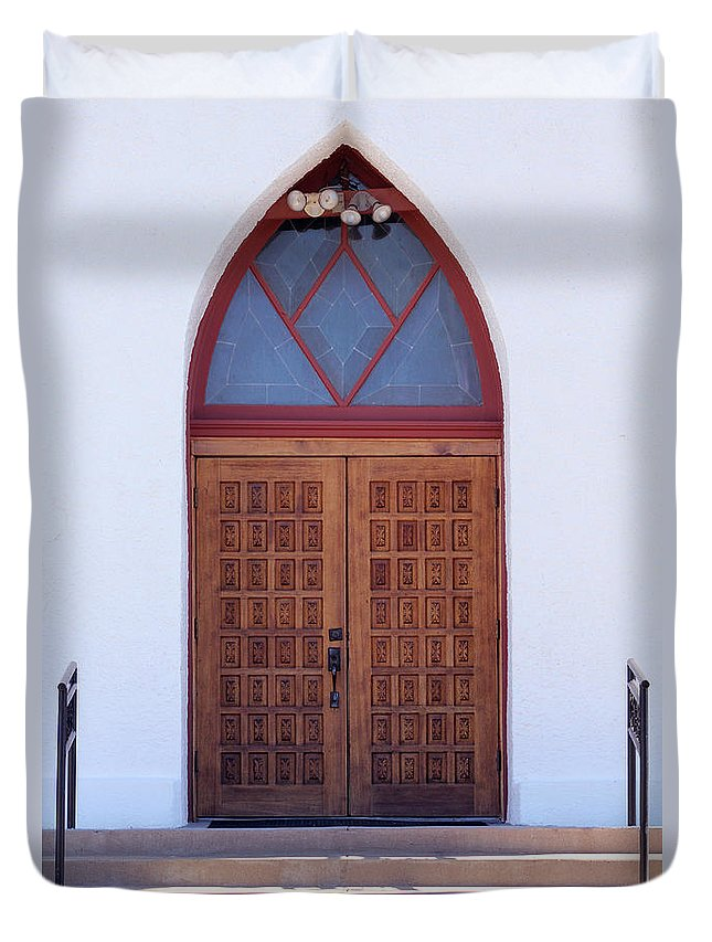 Christ Duvet Cover featuring the photograph Christ's Red Door by Alycia Christine