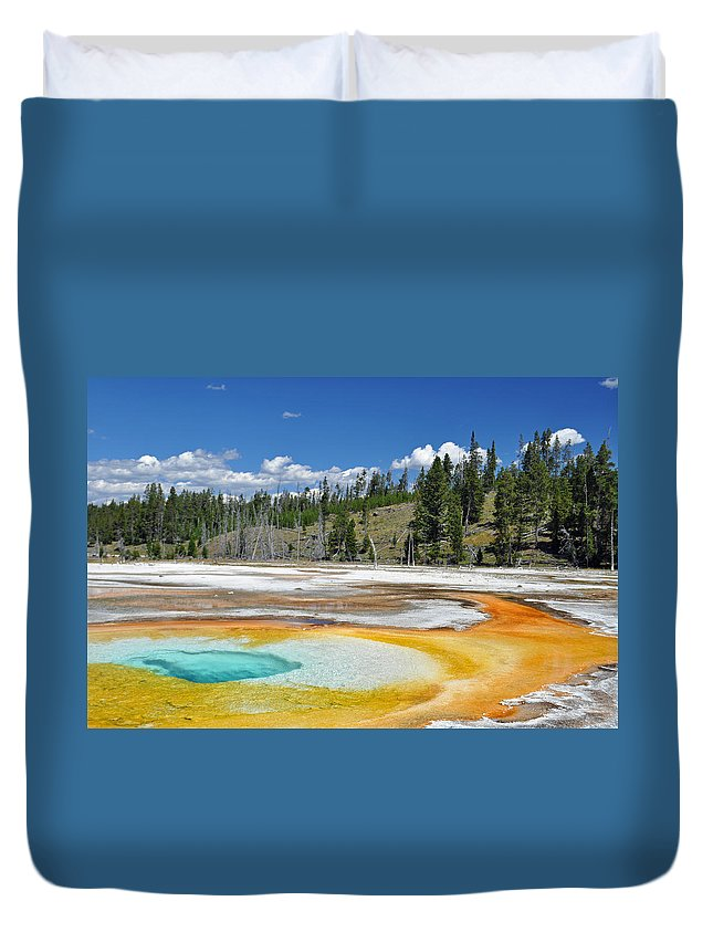 Yellowstone Duvet Cover featuring the photograph Chromatic Pool Yellowstone National Park by Bruce Gourley