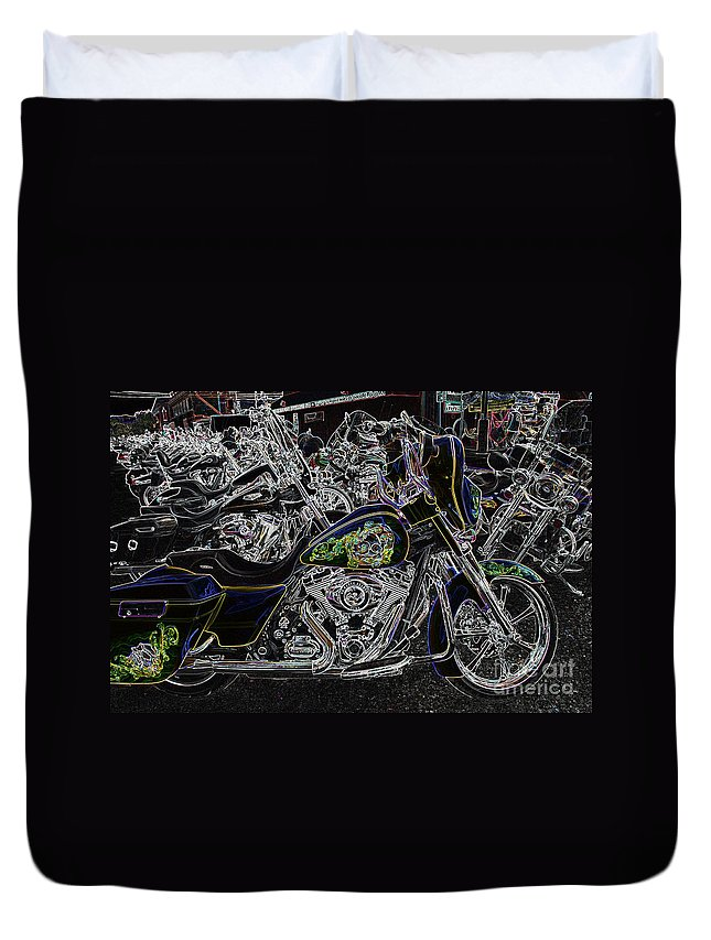 Harley Duvet Cover featuring the photograph Chrome And Paint by Anthony Wilkening