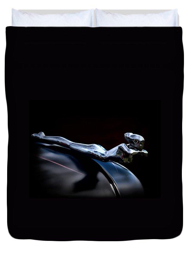 Automotive Duvet Cover featuring the photograph Chrome Angel by Douglas Pittman