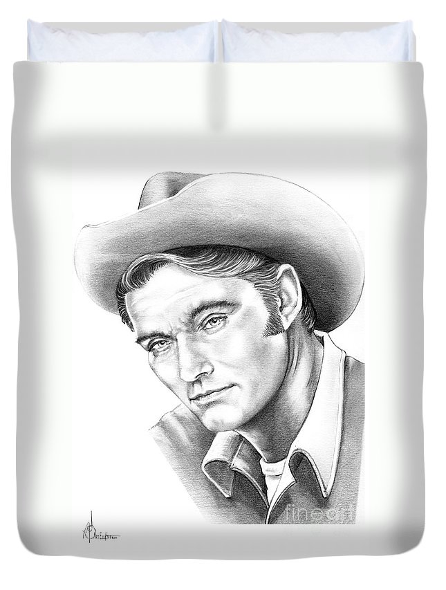 Drawing Duvet Cover featuring the drawing Chuck Conners-rifleman by Murphy Elliott