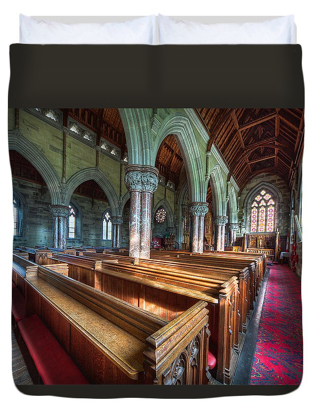 Church Duvet Cover featuring the photograph Church Benches by Adrian Evans