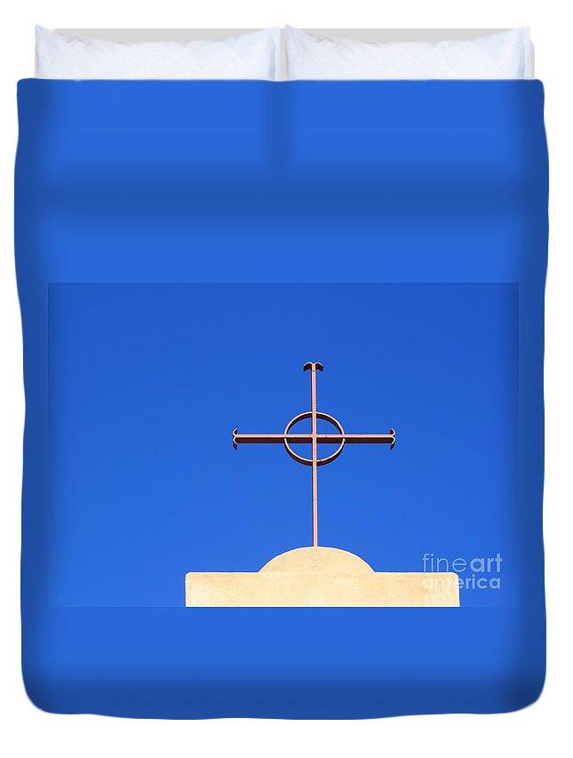 Christianity Duvet Cover featuring the photograph Church Cross by Henrik Lehnerer