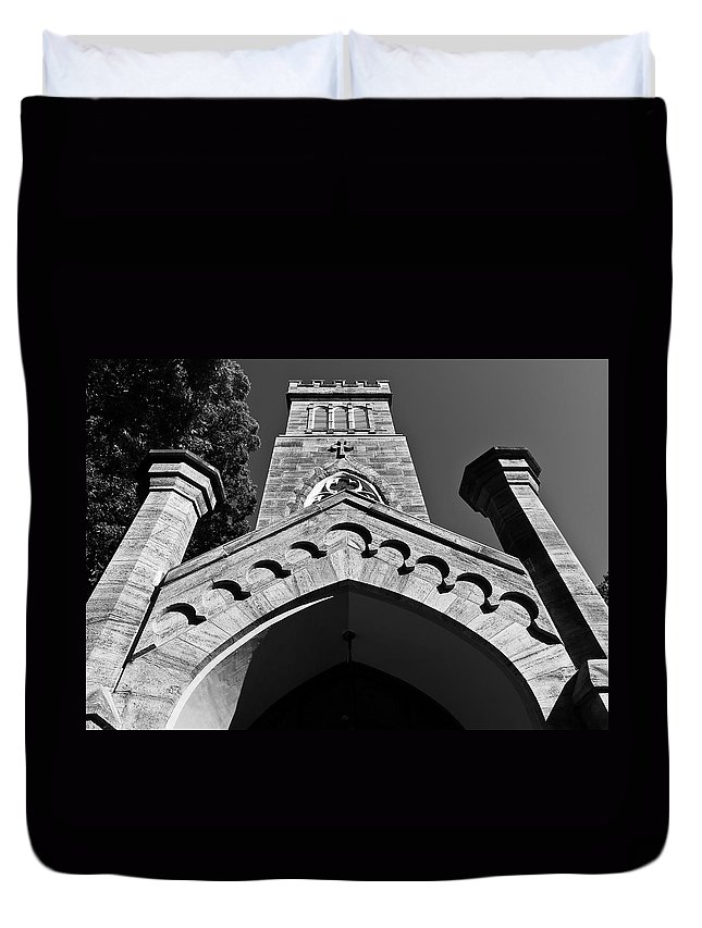 Cismont Duvet Cover featuring the photograph Church Facade In Black And White by Lori Coleman