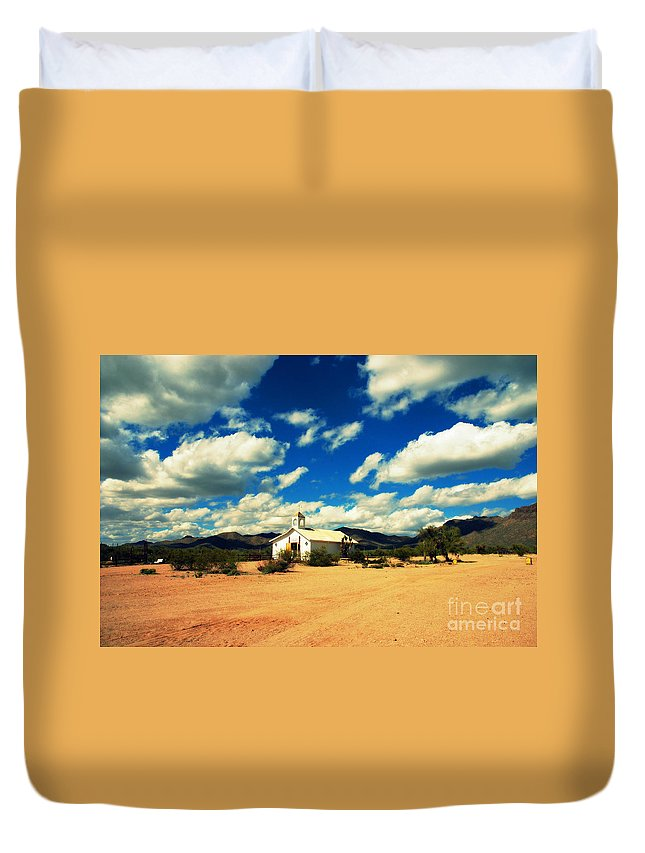 Old Tuscon Duvet Cover featuring the photograph Church In Old Tuscon Arizona by Susanne Van Hulst