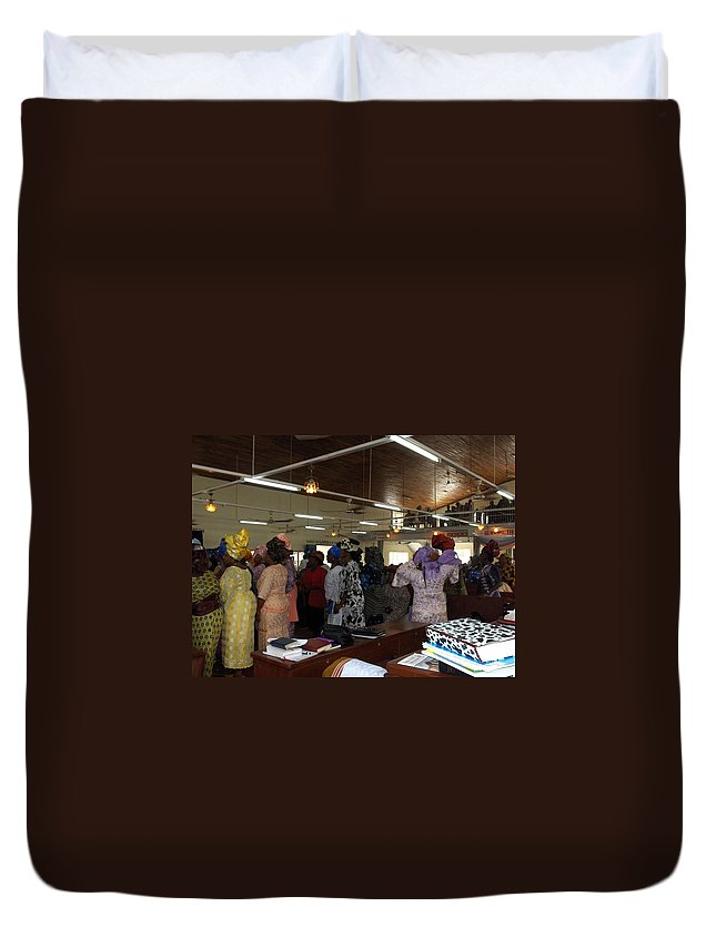 Church Duvet Cover featuring the photograph Church Service In Nigeria by Amy Hosp