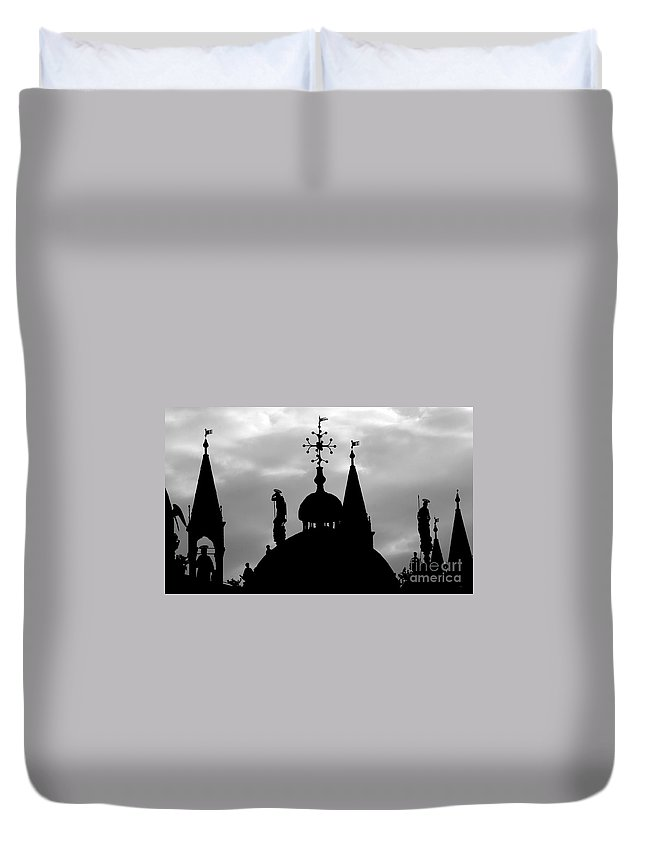 Church Duvet Cover featuring the photograph Church Spires Silhouetted Bw by Mike Nellums