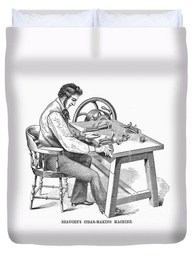 1859 Duvet Cover featuring the photograph Cigar-making Machine, 1859 by Granger