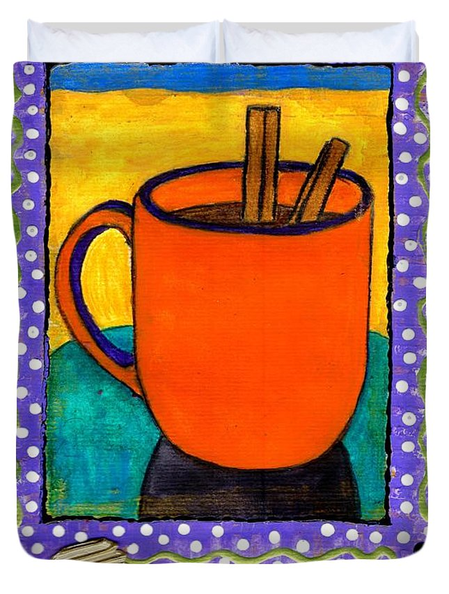 Cinnamon Duvet Cover featuring the mixed media Cinnamon Brew by Angela L Walker