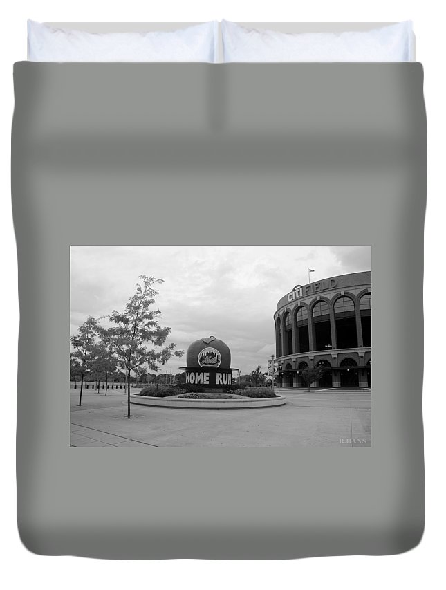 Shea Stadium Duvet Cover featuring the photograph Citi Field In Black And White by Rob Hans