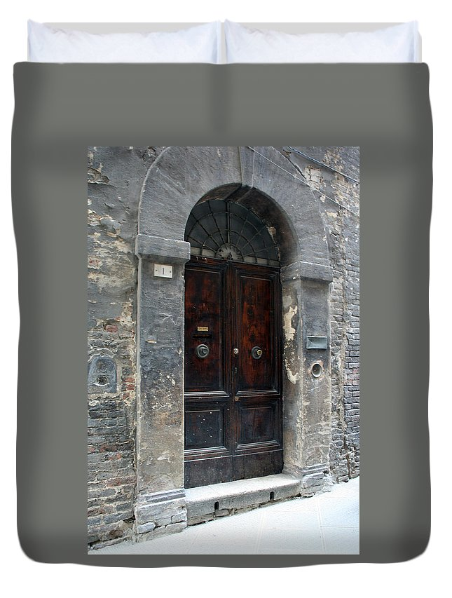 Door Duvet Cover featuring the photograph City 0037 by Carol Ann Thomas