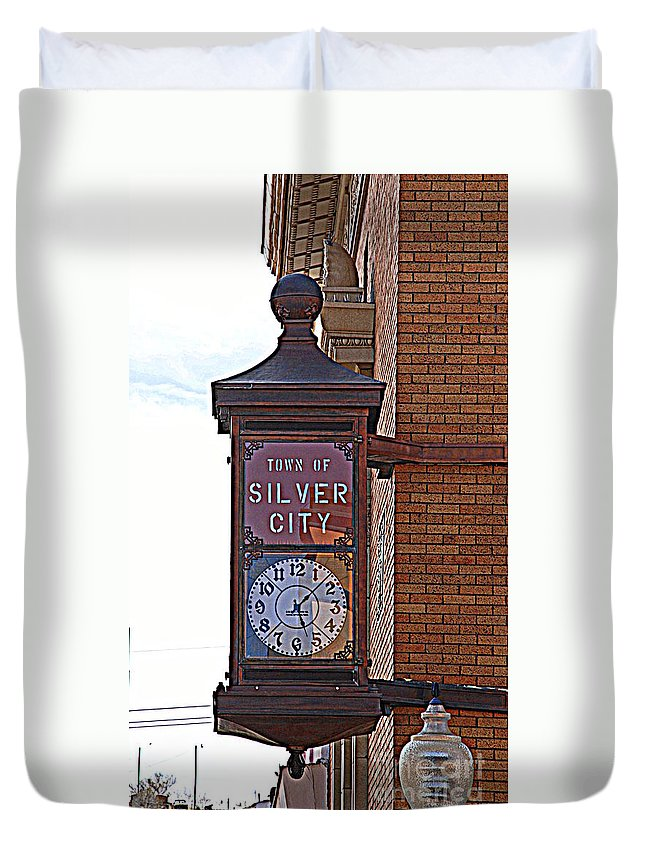 Clock Duvet Cover featuring the photograph City Clock In Silver City Nm by Susanne Van Hulst
