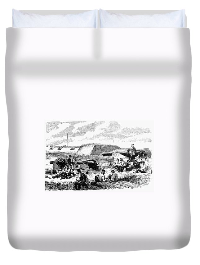 19th Century Duvet Cover featuring the photograph Civil War Battery Scene by Granger