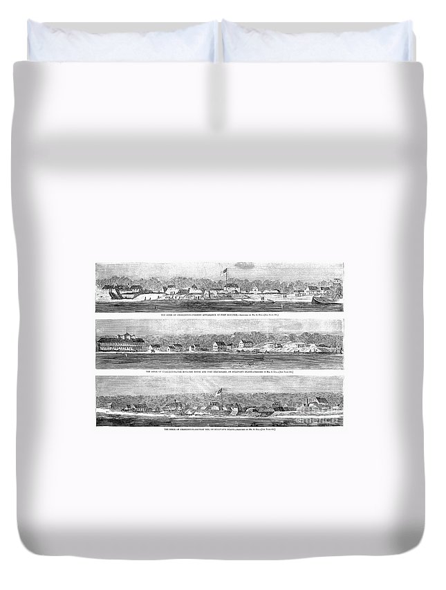 1863 Duvet Cover featuring the photograph Civil War: Fort Moultrie by Granger