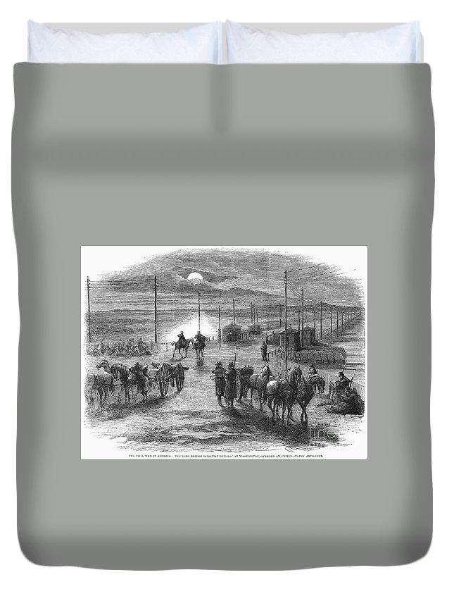 1861 Duvet Cover featuring the photograph Civil War: Potomac Bridge by Granger