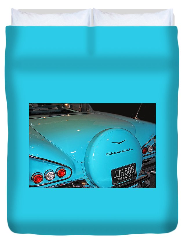 Classic Duvet Cover featuring the photograph Classic Chevorlet by Diane Wood