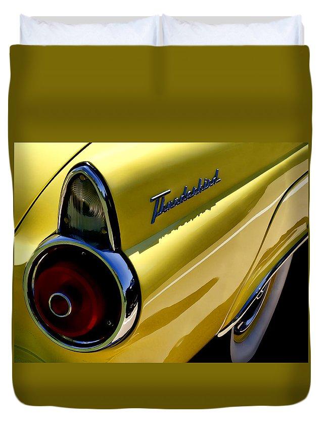 Classic Duvet Cover featuring the digital art Classic T-bird Tailfin by Douglas Pittman