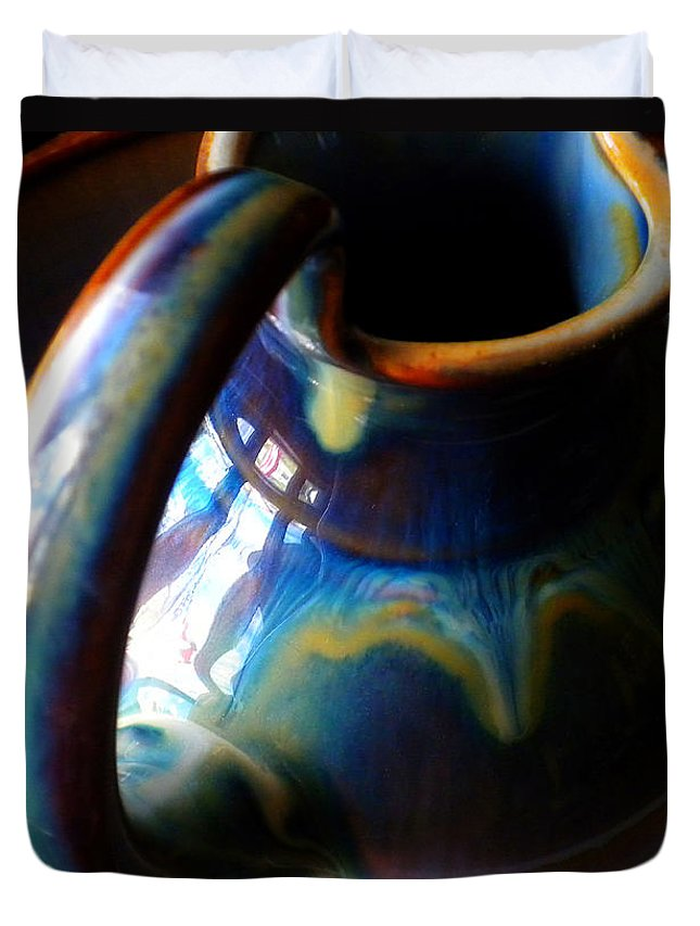 Clay Pitcher Duvet Cover featuring the photograph Clay Pitcher by Kristen Cavanaugh