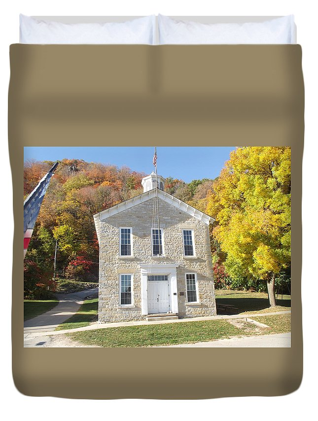 School Duvet Cover featuring the photograph Clayton School by Bonfire Photography
