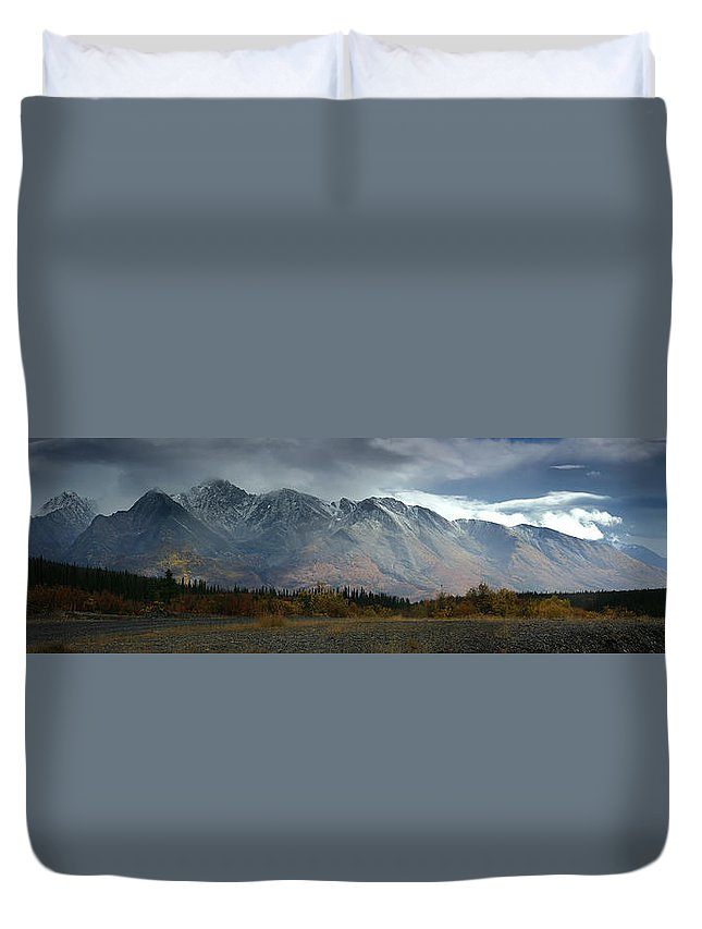 Light Duvet Cover featuring the photograph Clearing Storm Over North Canol Road by Robert Postma