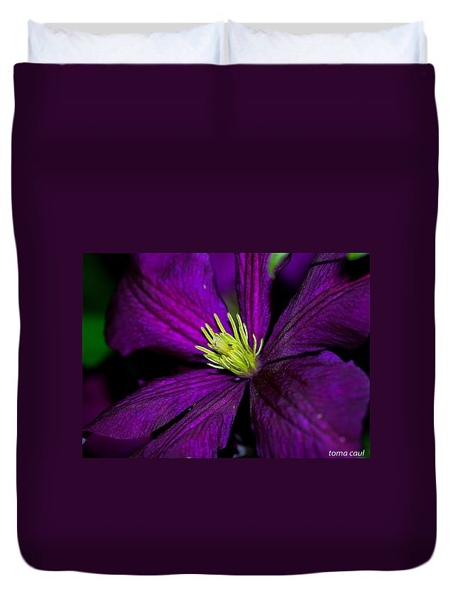 Flower Duvet Cover featuring the photograph Clematis Macro by Toma Caul