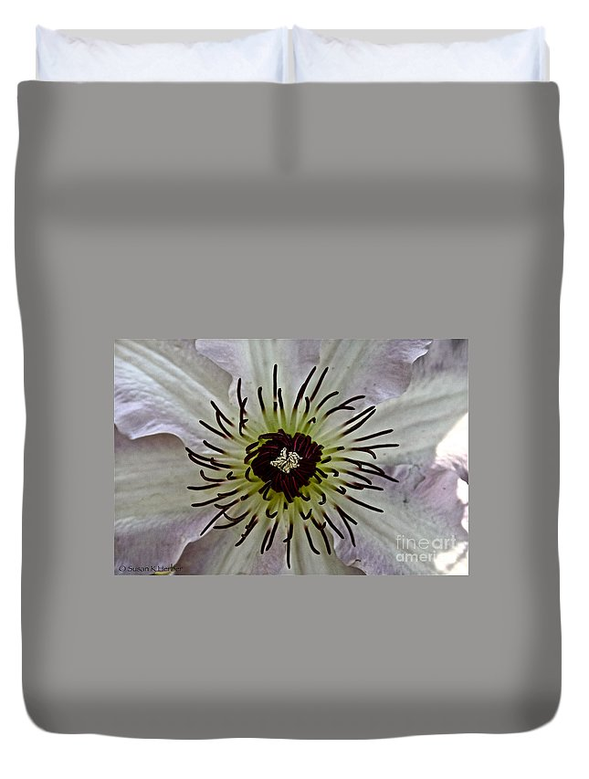 Plant Duvet Cover featuring the photograph Clematis Stamen by Susan Herber