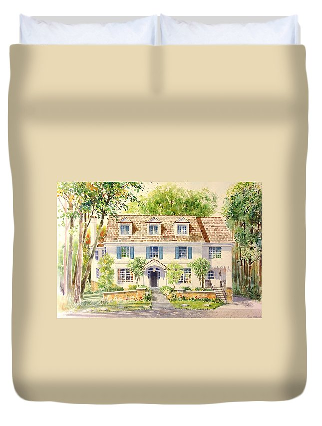 House Portraits Duvet Cover featuring the painting Clinton Place by Tom Harris