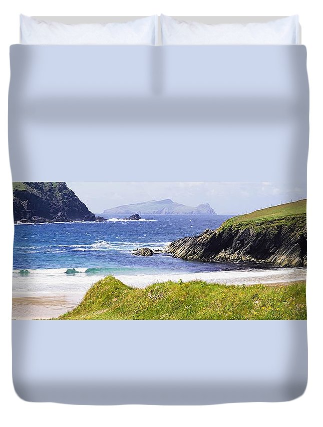 Day Duvet Cover featuring the photograph Clogher Beach, Blasket Islands, Dingle by The Irish Image Collection