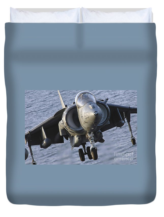 Us Marine Corps Duvet Cover featuring the photograph Close-up View Of An Av-8b Harrier II by Stocktrek Images