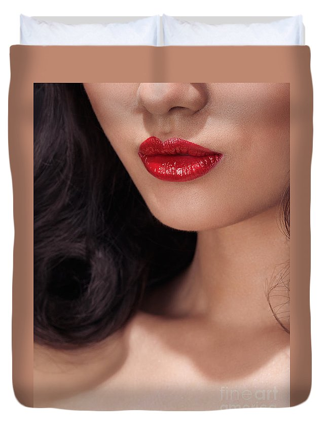 Lips Duvet Cover featuring the photograph Closeup Of Woman Red Lips by Oleksiy Maksymenko