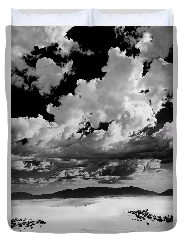White Sands National Monument Duvet Cover featuring the photograph Clouds Above White Sands by Ralf Kaiser