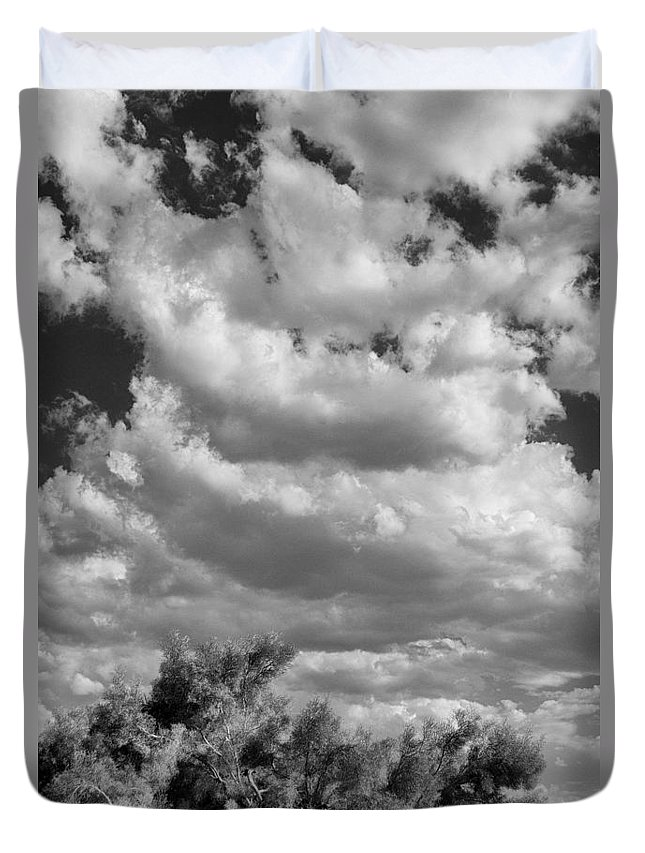Desert Duvet Cover featuring the photograph Clouds Rising Bw Palm Springs by William Dey