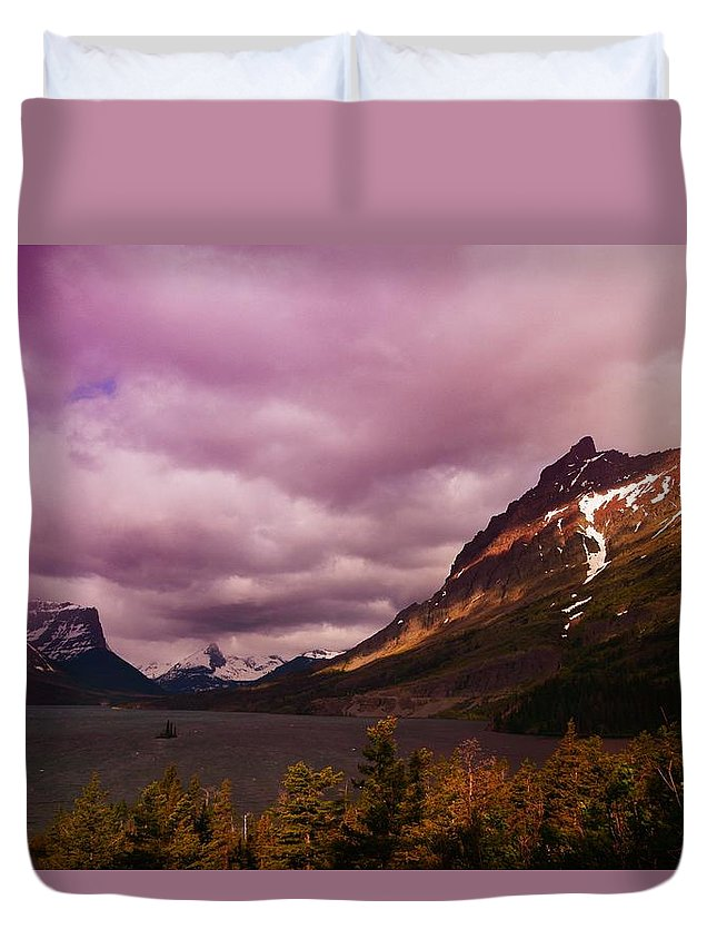 Mountains Duvet Cover featuring the photograph Cloudy Morning At Glacier by Jeff Swan