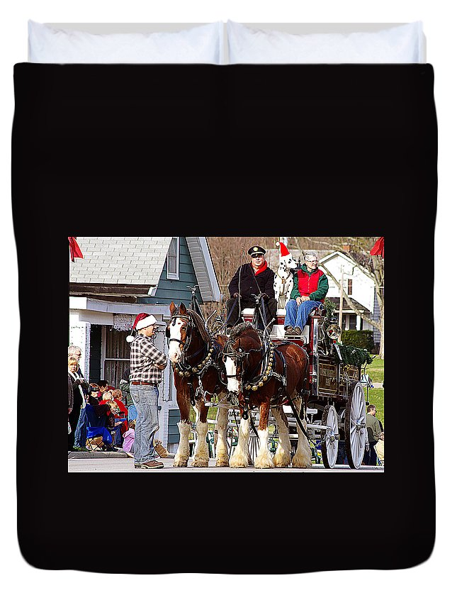 Horses Duvet Cover featuring the photograph Clydesdales by Jenny Gandert
