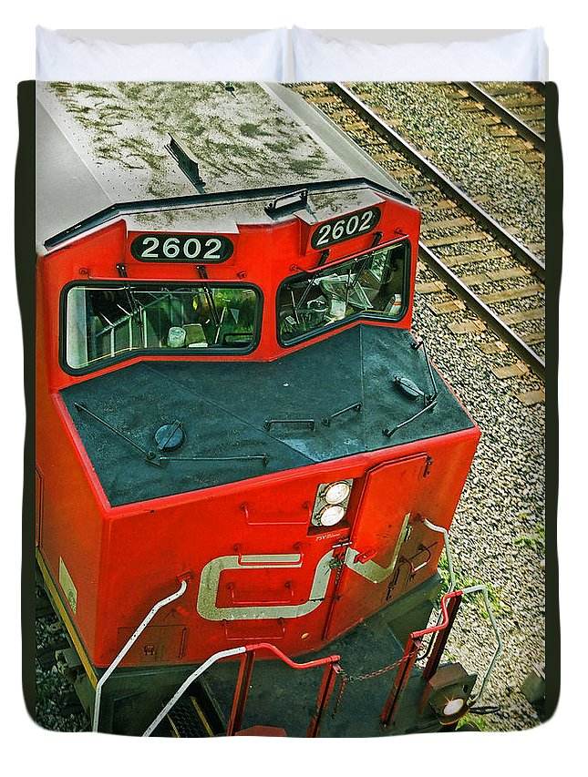Trains Duvet Cover featuring the photograph Cn Train Cab by Randy Harris